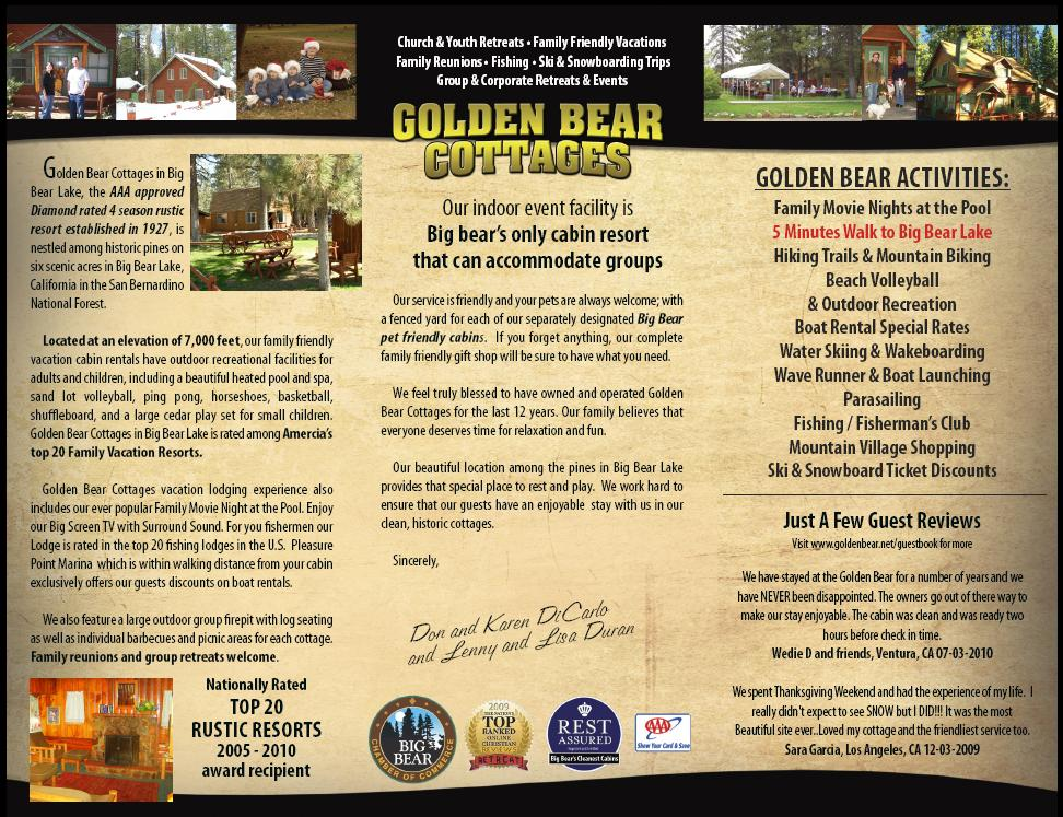 big bear brochure lodging and information golden bear cottages